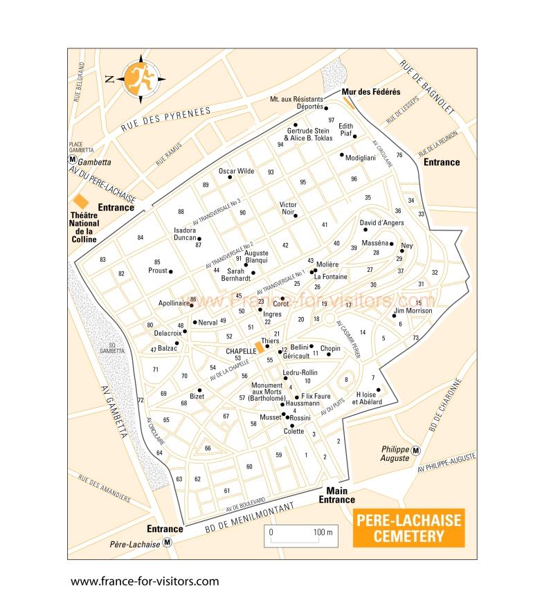 6 - Paris, Francia Pere Lachaise Cemetery Map